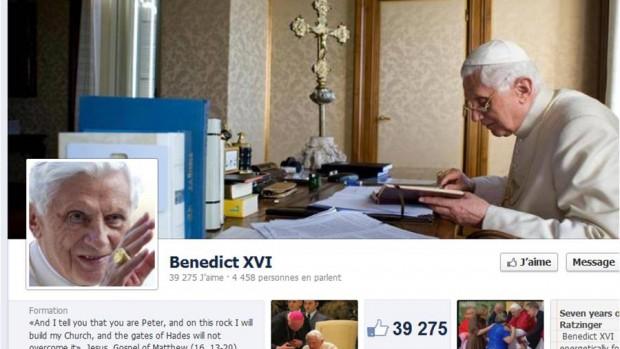 page facebook benoit XVI pape decembre 2012