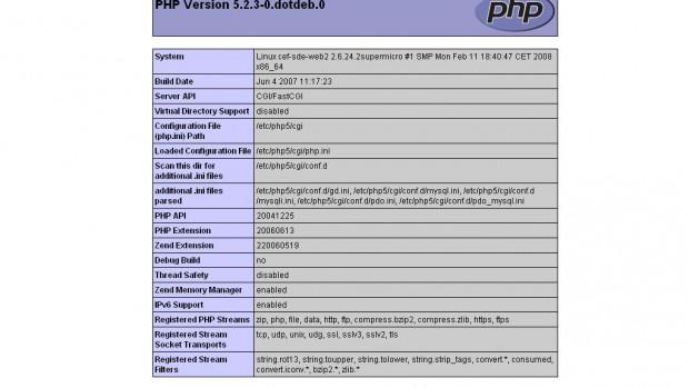 phpinfo