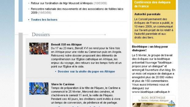 capture newsletter site eglise.catholique.fr